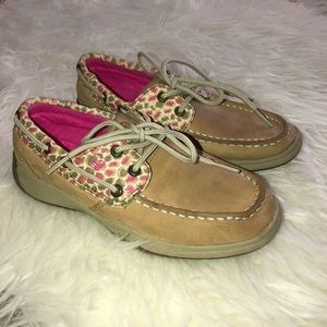 SPERRY Girls Leather Boat Shoes Sz 1.5